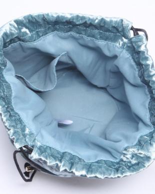 ブルー ベルベット巾着バッグ/Tを見る