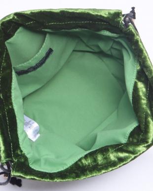 グリーン ベルベット巾着バッグ/Tを見る