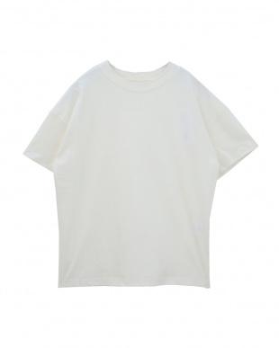 オフホワイト 綿100%モックネックTシャツを見る