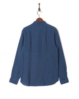 ストライプインディゴ/ブルー  CALIBAN 麻 ストライプ スプレッドカラー 長袖シャツを見る