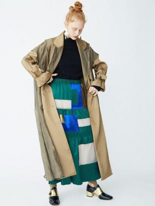 グリーン カラーブロッキングフレアスカート UN3D.を見る