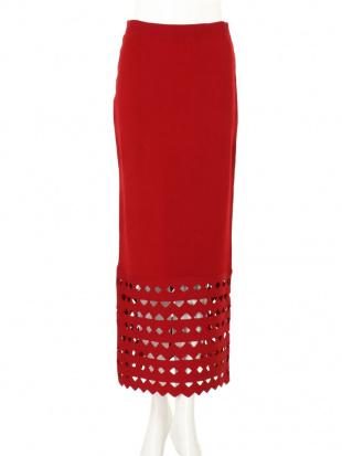 レッド カットワークタイトスカート UN3D.を見る