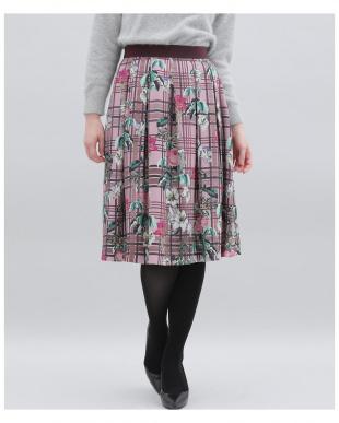 ブラウン チェックフラワープリントスカート ef-deを見る