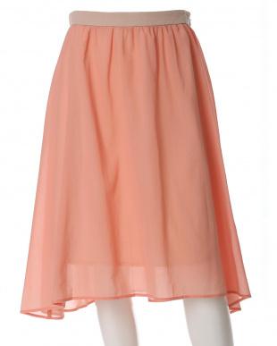 ピンク1 《大きいサイズ》シースルーシフォンスカート ef-de L Sizeを見る