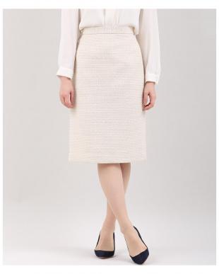 ベージュ2 《大きいサイズ》ツイードAラインスカート INED L sizeを見る
