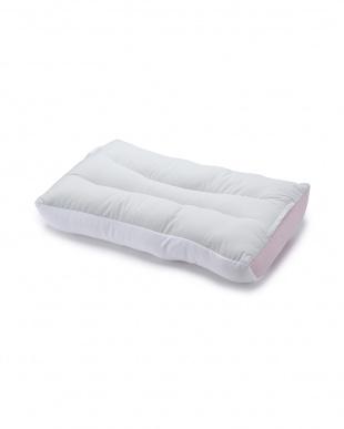 ピンク 快眠枕 「首にやさしいまくら」ポリエステルわたを見る