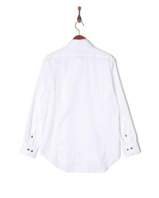 ホワイト チェック織柄 ワイドカラー 長袖シャツを見る
