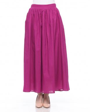 パープル 綿麻スカートを見る