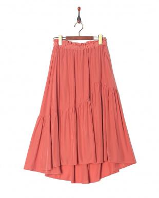 ピンク [洗える]イレヘムティアードスカートを見る