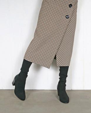 ブラックメタリック ヒールアップロングソックスブーツを見る
