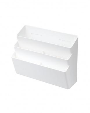 ホワイト 冷蔵庫横マグネット収納ポケット 3段 プレートを見る