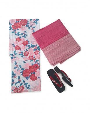 ピンク/赤/ピンクピンク 夏花 浴衣3点セット(浴衣/帯/下駄)を見る
