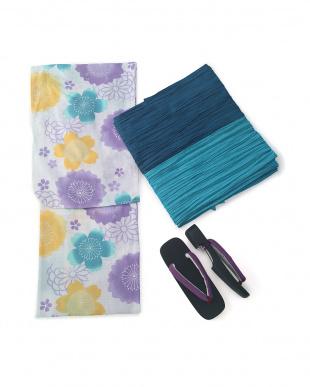 うす紫/黄オフ白/渋紺水 丸菊桜 浴衣3点セット(浴衣/帯/下駄)を見る