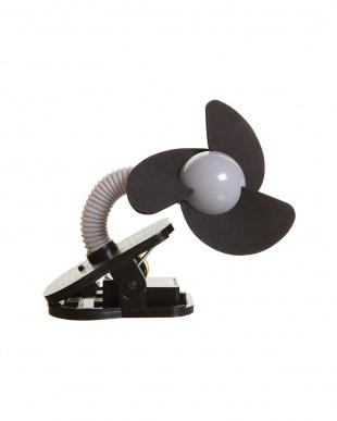 シルバー×ブラック  ベビーカー扇風機 クリップオン ファンを見る