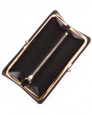 ブラック COWレザークロコ型押し口金ウォレットを見る