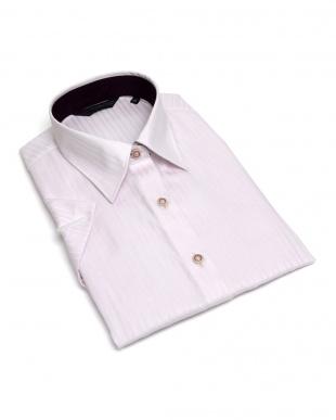 ピンク系  形態安定 ノーアイロン 半袖シャツ レギュラー衿 綿100% ピンク×ストライプ織柄を見る