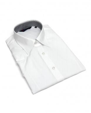 ホワイト系  形態安定 ノーアイロン 半袖シャツ レギュラー衿 綿100% 白×斜めストライプ織柄を見る