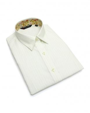 イエロー系  形態安定 ノーアイロン 七分袖シャツ レギュラー衿 白×イエローストライプ(透け防止)を見る