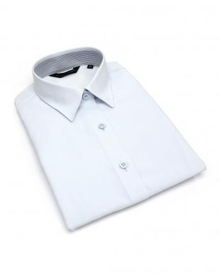 ブルー系  形態安定 ノーアイロン 七分袖シャツ レギュラー衿 サックス×織柄を見る