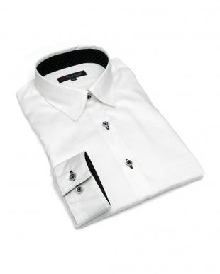 ホワイト系  形態安定 ノーアイロン 長袖シャツ レギュラー衿 綿100% 白×チェック織柄を見る