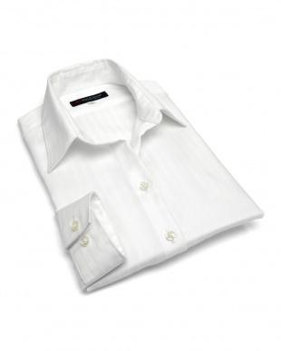 ホワイト系  形態安定 ノーアイロン 長袖シャツ スキッパー衿 綿100% 白×ストライプ織柄を見る