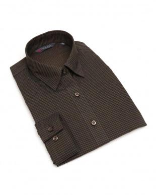 ブラウン・ベージュ系  形態安定 ノーアイロン 長袖シャツ レギュラー衿 黒×ブラウンチェックを見る
