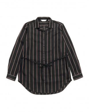 ブラック・グレー系  形態安定 ノーアイロン Wガーゼ長袖チュニックシャツ スキッパー衿 綿100% ブラック×ブラウン、白ストライプ(ウエスト紐付)を見る