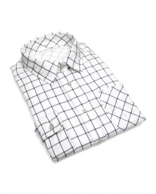 ブルー系  形態安定 ノーアイロン Wガーゼ長袖シャツ レギュラー衿 綿100% 白×ネイビーチェックを見る