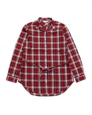 レッド系  形態安定 ノーアイロン Wガーゼ長袖チュニックシャツ スキッパー衿 綿100% レッド×白(ウエスト紐付)を見る