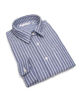 ブルー系  形態安定 ノーアイロン Wガーゼ長袖シャツ レギュラー衿 綿100% ブルー×白ストライプを見る
