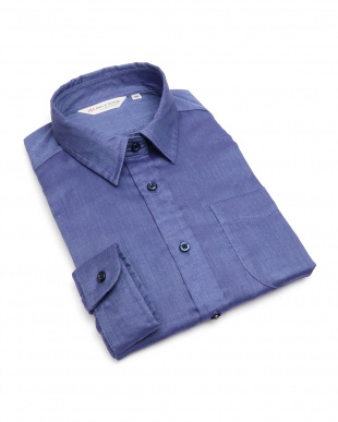 ブルー系  形態安定 ノーアイロン Wガーゼ長袖シャツ レギュラー衿 綿100% ブルー×無地調を見る