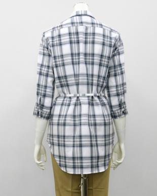グリーン系  形態安定 ノーアイロン 七分袖 チュニック Wガーゼシャツ スキッパー衿 綿100% 白×グリーン(ウエスト紐付)を見る