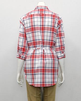 ピンク系  形態安定 ノーアイロン 七分袖 チュニック Wガーゼシャツ スキッパー衿 綿100% 白×レッド(ウエスト紐付)を見る