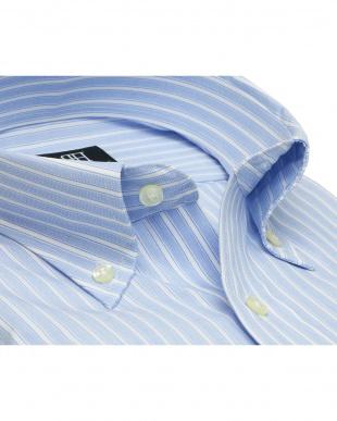 ブルー系 形態安定 ノーアイロン 長袖ワイシャツ ボタンダウン サックス×白ストライプを見る