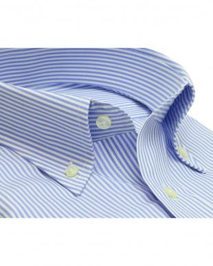 ブルー系 形態安定 ノーアイロン 長袖ワイシャツ ボタンダウン ホワイト×ブルーストライプを見る