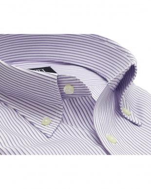 パープル系 形態安定 ノーアイロン 長袖ワイシャツ ボタンダウン パープル×白ストライプを見る