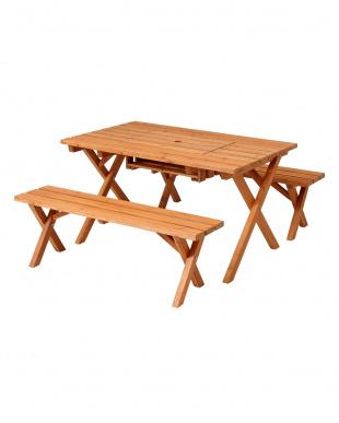 杉材 コンロスペース付きBBQテーブル&ベンチセットを見る