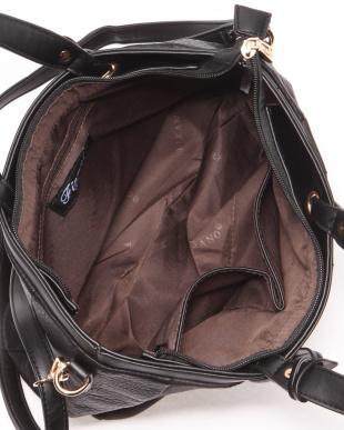 BLUE チャーム付き異素材ストライプトートバッグを見る