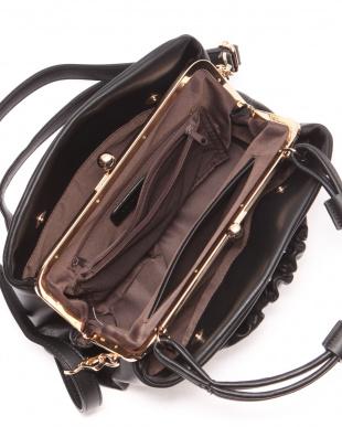 BLACK 2WAYシャーリングデザインがま口ショルダーハンドバッグを見る