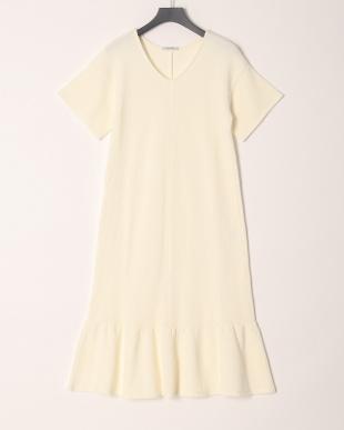 オフホワイト COTTON WAFFLE PEPLUM DRESSを見る