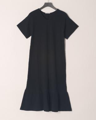 ブラック COTTON WAFFLE PEPLUM DRESSを見る