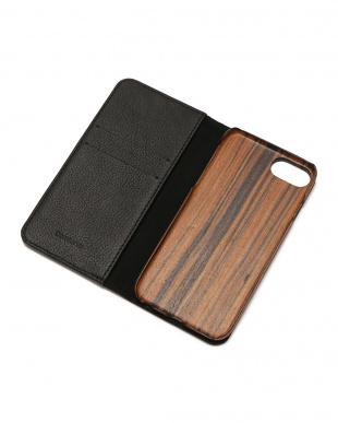 ブラック×シルバースタッズ METEOR(ミティアー)ブラック×シルバー iPhone8/7/6s/6 兼用フランスレザー 木製ケースを見る