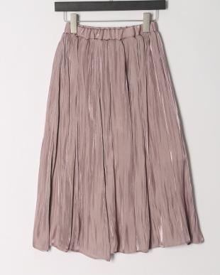 ピンク シャイニーサテンプリーツスカートを見る