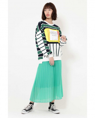 GREEN PANEL STRIPE LOGO TOPS R/B(バイイング)を見る