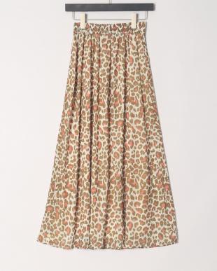 ブラウン レオパードプリントスカートを見る