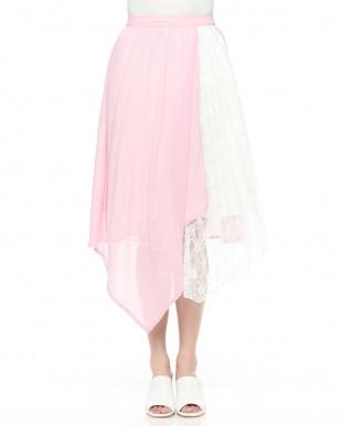 ピンク プリーツ切替ロングスカートを見る