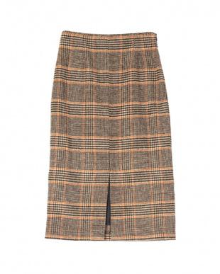 チェック/ブラウン フロントスリットタイトスカートを見る