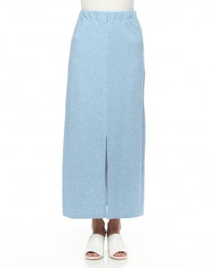 ブルー Iラインカットマキシスカートを見る