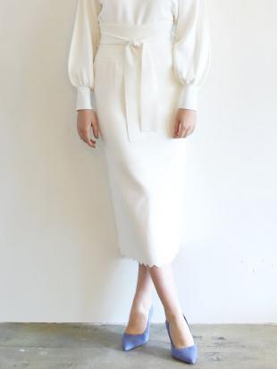 ホワイト スカラップニットタイトスカート LAGUNAMOONを見る