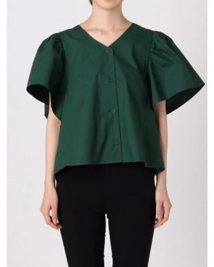 ライトミックス フリルスリーブバックオープンシャツ EMODAを見る
